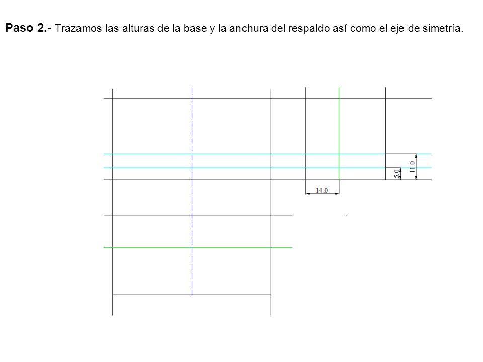 Paso 2.- Trazamos las alturas de la base y la anchura del respaldo así como el eje de simetría.