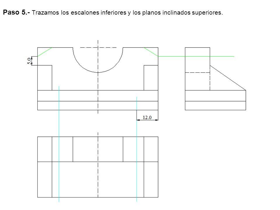 Paso 5.- Trazamos los escalones inferiores y los planos inclinados superiores.