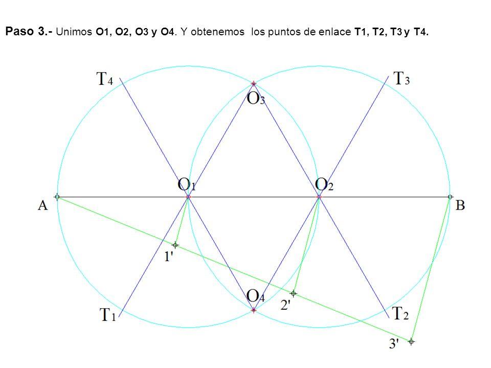 Paso 3.- Unimos O1, O2, O3 y O4. Y obtenemos los puntos de enlace T1, T2, T3 y T4.