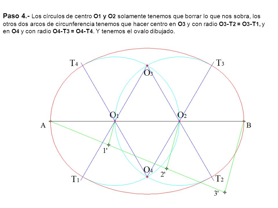 Paso 4.- Los círculos de centro O1 y O2 solamente tenemos que borrar lo que nos sobra, los otros dos arcos de circunferencia tenemos que hacer centro en O3 y con radio O3-T2 = O3-T1, y en O4 y con radio O4-T3 = O4-T4.