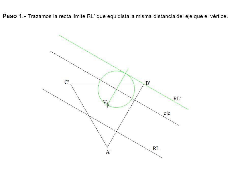 Paso 1.- Trazamos la recta límite RL' que equidista la misma distancia del eje que el vértice.