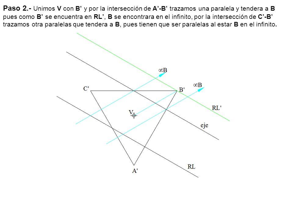 Paso 2.- Unimos V con B' y por la intersección de A'-B' trazamos una paralela y tendera a B pues como B' se encuentra en RL', B se encontrara en el infinito, por la intersección de C'-B' trazamos otra paralelas que tendera a B, pues tienen que ser paralelas al estar B en el infinito.
