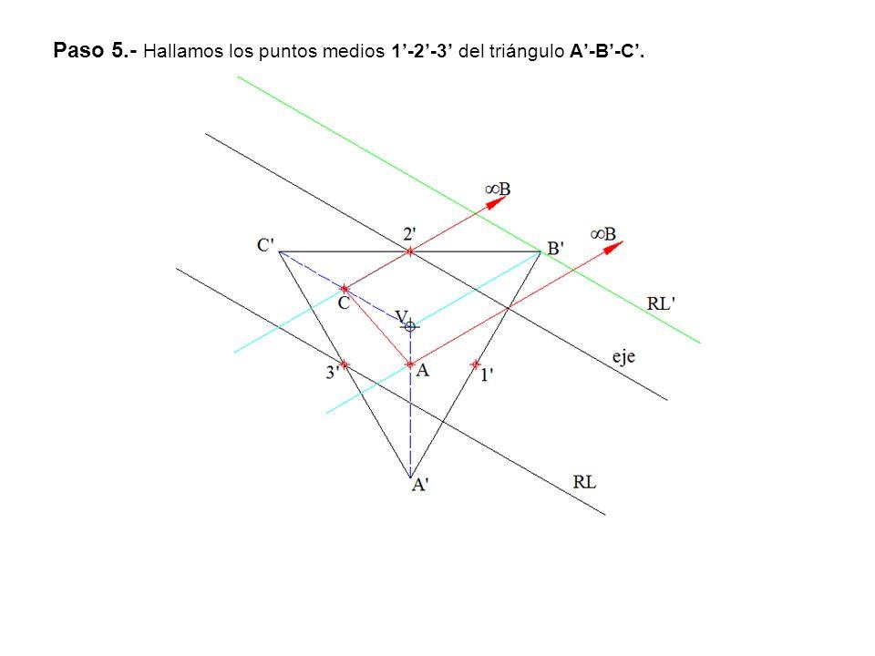 Paso 5.- Hallamos los puntos medios 1'-2'-3' del triángulo A'-B'-C'.