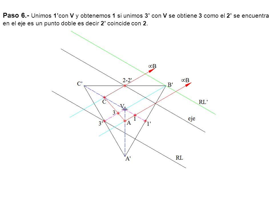 Paso 6.- Unimos 1'con V y obtenemos 1 si unimos 3' con V se obtiene 3 como el 2' se encuentra en el eje es un punto doble es decir 2' coincide con 2.
