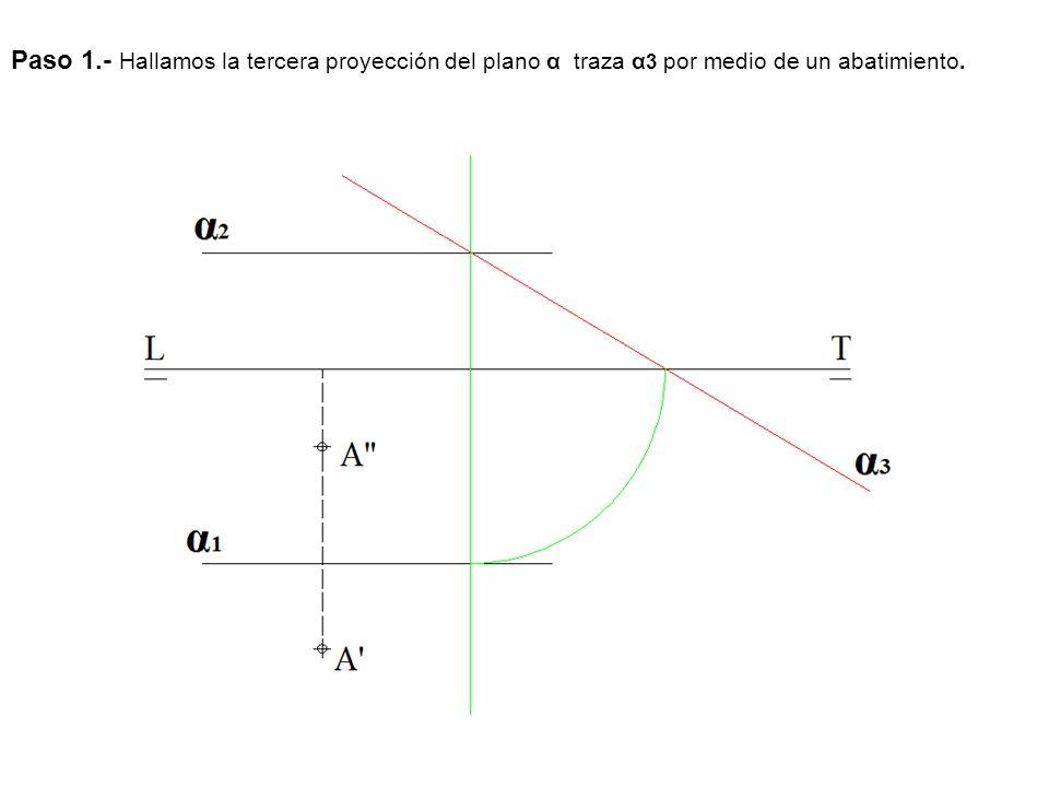 Paso 1.- Hallamos la tercera proyección del plano α traza α3 por medio de un abatimiento.