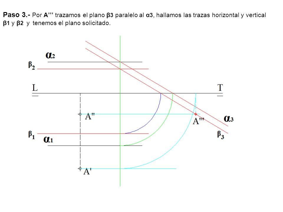 Paso 3.- Por A''' trazamos el plano β3 paralelo al α3, hallamos las trazas horizontal y vertical β1 y β2 y tenemos el plano solicitado.