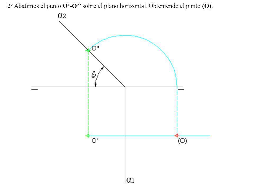 2º Abatimos el punto O'-O'' sobre el plano horizontal