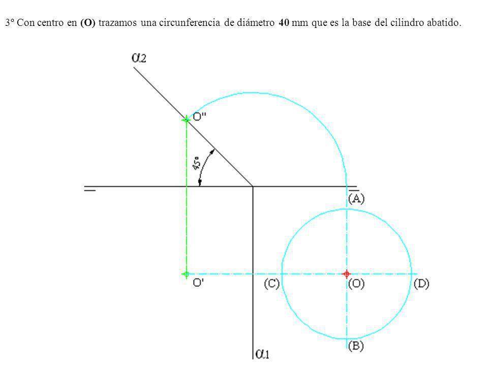 3º Con centro en (O) trazamos una circunferencia de diámetro 40 mm que es la base del cilindro abatido.