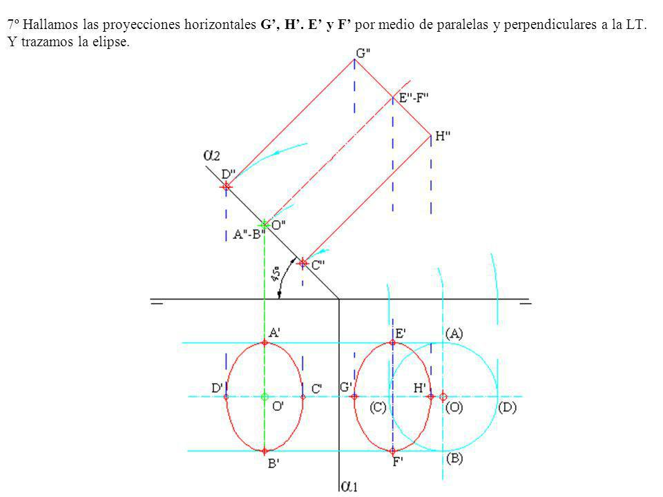 7º Hallamos las proyecciones horizontales G', H'
