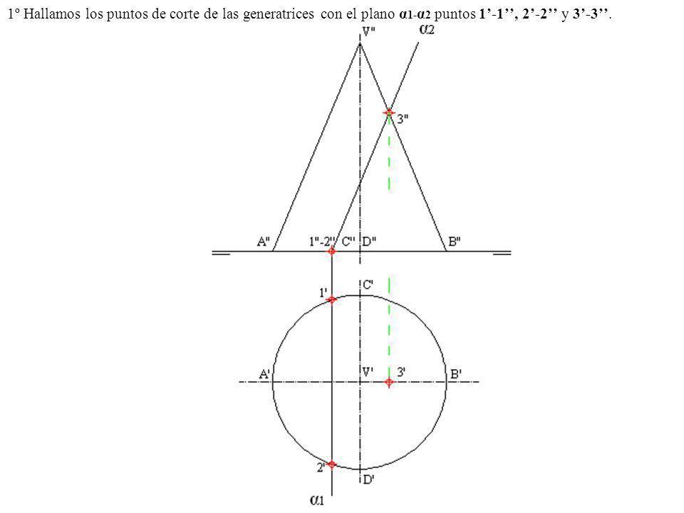 1º Hallamos los puntos de corte de las generatrices con el plano α1-α2 puntos 1'-1'', 2'-2'' y 3'-3''.