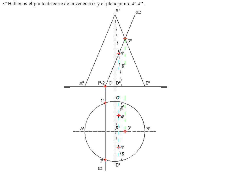 3º Hallamos el punto de corte de la generatriz y el plano punto 4'-4''.
