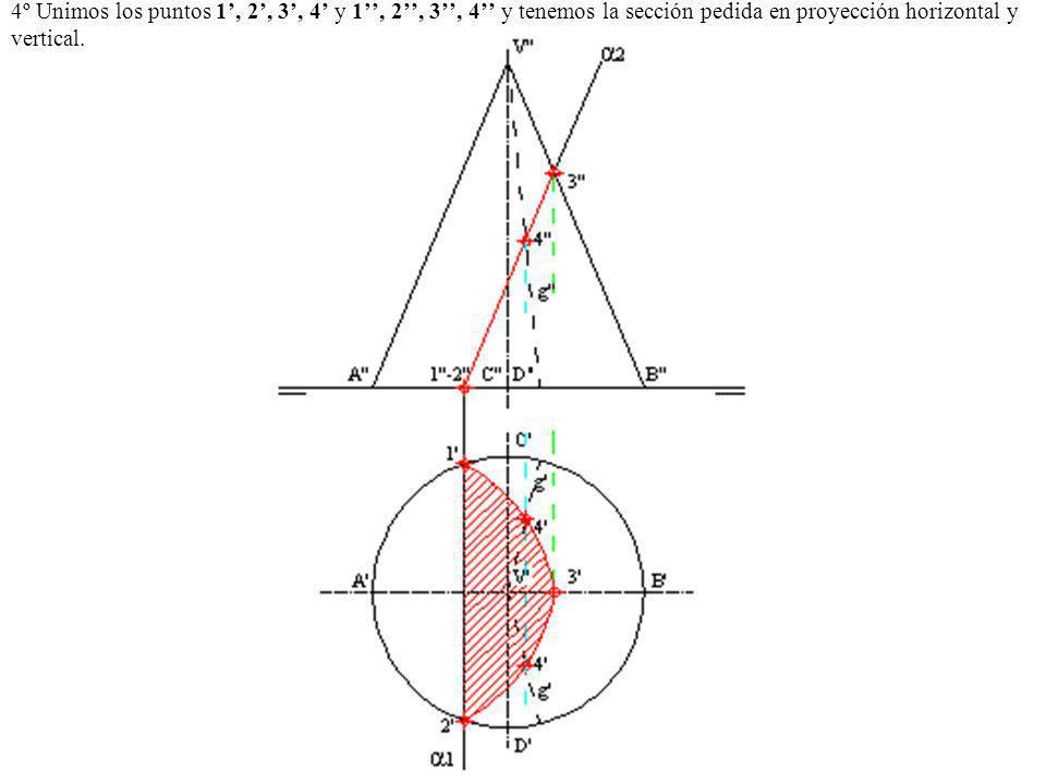 4º Unimos los puntos 1', 2', 3', 4' y 1'', 2'', 3'', 4'' y tenemos la sección pedida en proyección horizontal y vertical.
