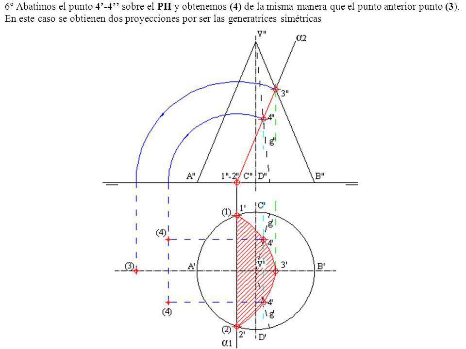 6º Abatimos el punto 4'-4'' sobre el PH y obtenemos (4) de la misma manera que el punto anterior punto (3).