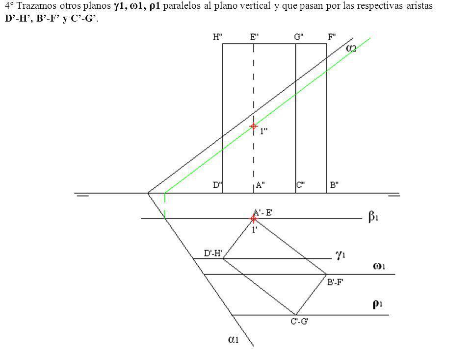 4º Trazamos otros planos 1, ω1, ρ1 paralelos al plano vertical y que pasan por las respectivas aristas D'-H', B'-F' y C'-G'.