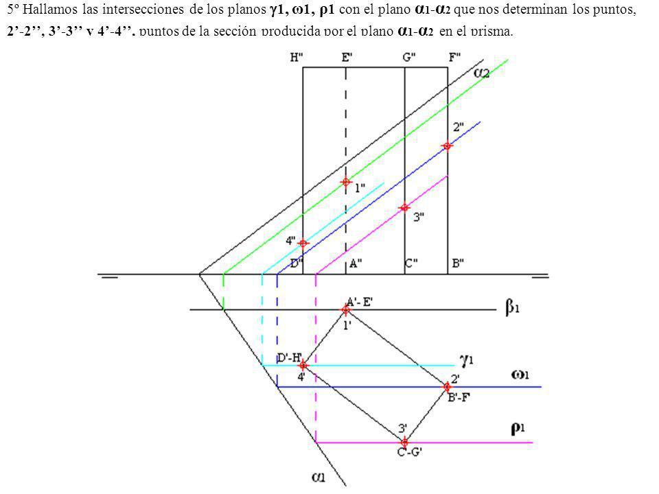 5º Hallamos las intersecciones de los planos 1, ω1, ρ1 con el plano α1-α2 que nos determinan los puntos, 2'-2'', 3'-3'' y 4'-4'', puntos de la sección producida por el plano α1-α2 en el prisma.