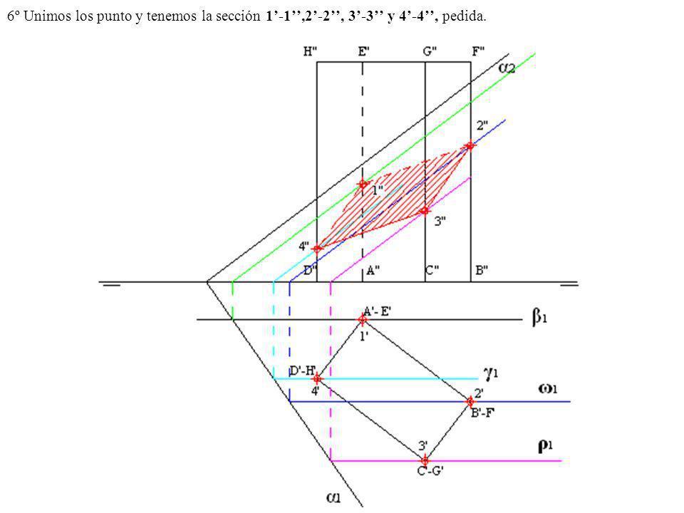 6º Unimos los punto y tenemos la sección 1'-1'',2'-2'', 3'-3'' y 4'-4'', pedida.
