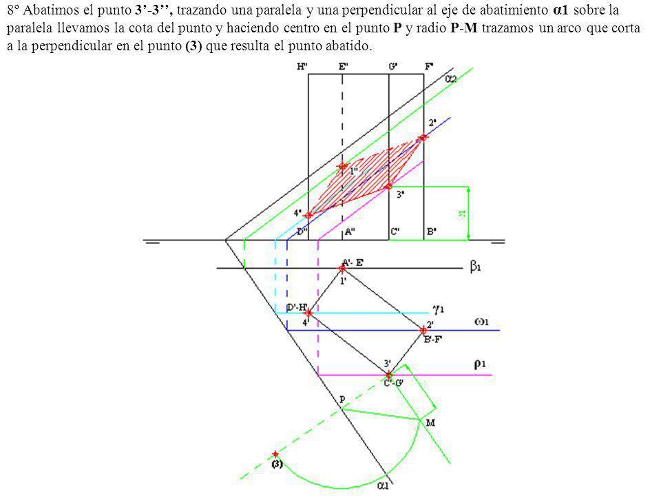 8º Abatimos el punto 3'-3'', trazando una paralela y una perpendicular al eje de abatimiento α1 sobre la paralela llevamos la cota del punto y haciendo centro en el punto P y radio P-M trazamos un arco que corta a la perpendicular en el punto (3) que resulta el punto abatido.