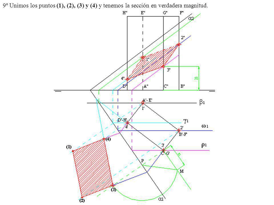 9º Unimos los puntos (1), (2), (3) y (4) y tenemos la sección en verdadera magnitud.