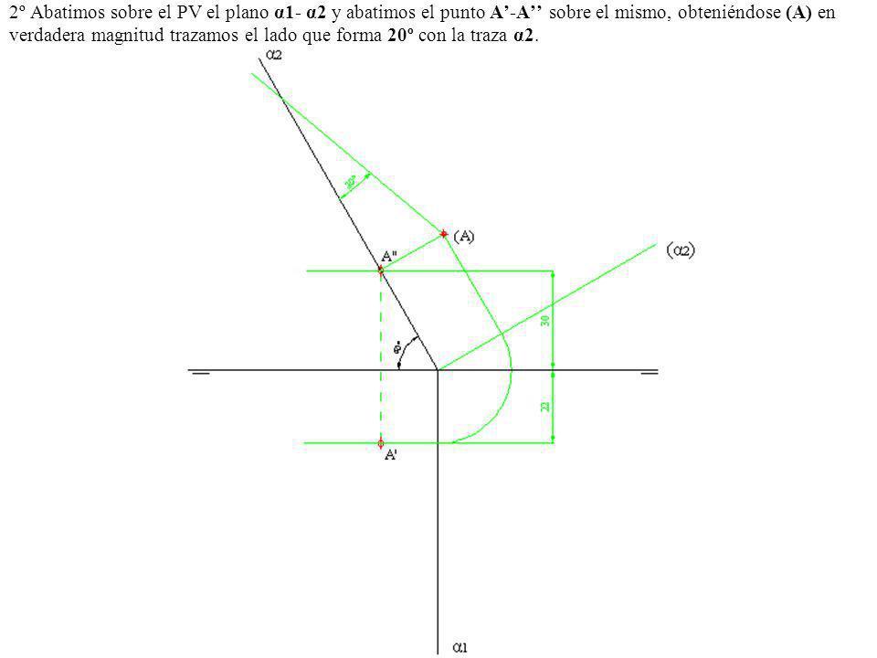 2º Abatimos sobre el PV el plano α1- α2 y abatimos el punto A'-A'' sobre el mismo, obteniéndose (A) en verdadera magnitud trazamos el lado que forma 20º con la traza α2.