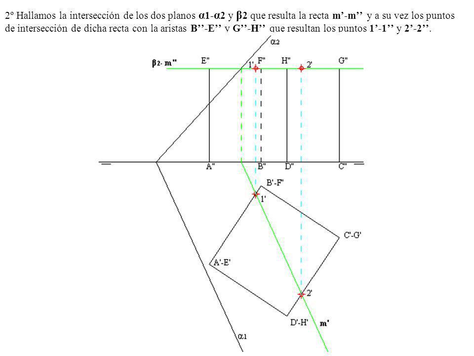 2º Hallamos la intersección de los dos planos α1-α2 y β2 que resulta la recta m'-m'' y a su vez los puntos de intersección de dicha recta con la aristas B''-E'' y G''-H'' que resultan los puntos 1'-1'' y 2'-2''.