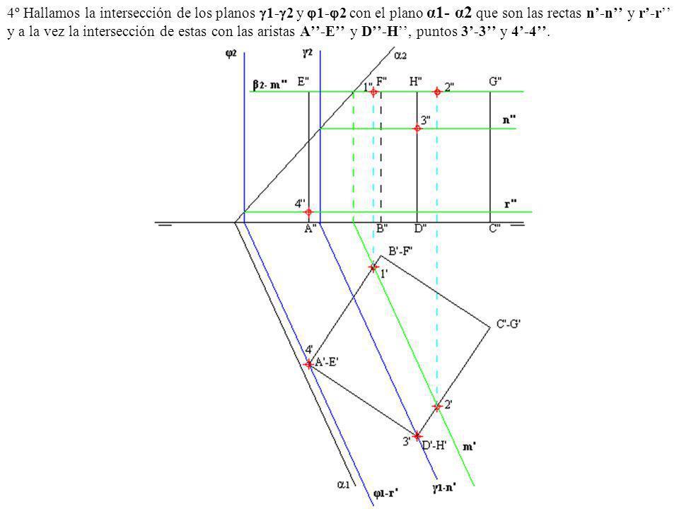 4º Hallamos la intersección de los planos 1-2 y 1-2 con el plano α1- α2 que son las rectas n'-n'' y r'-r'' y a la vez la intersección de estas con las aristas A''-E'' y D''-H'', puntos 3'-3'' y 4'-4''.