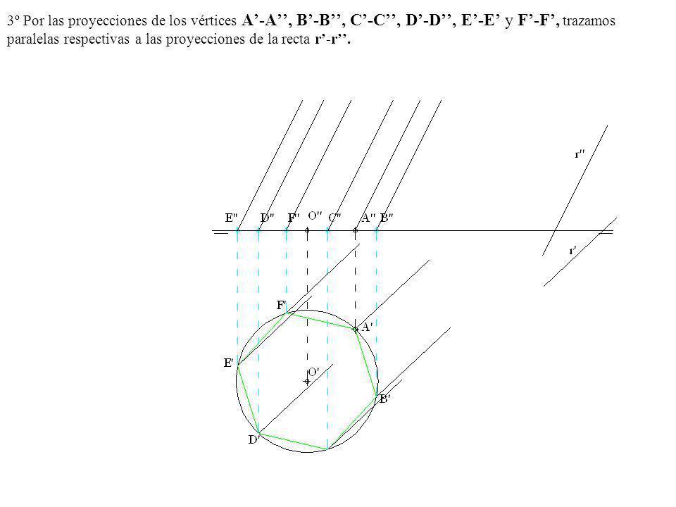 3º Por las proyecciones de los vértices A'-A'', B'-B'', C'-C'', D'-D'', E'-E' y F'-F', trazamos paralelas respectivas a las proyecciones de la recta r'-r''.