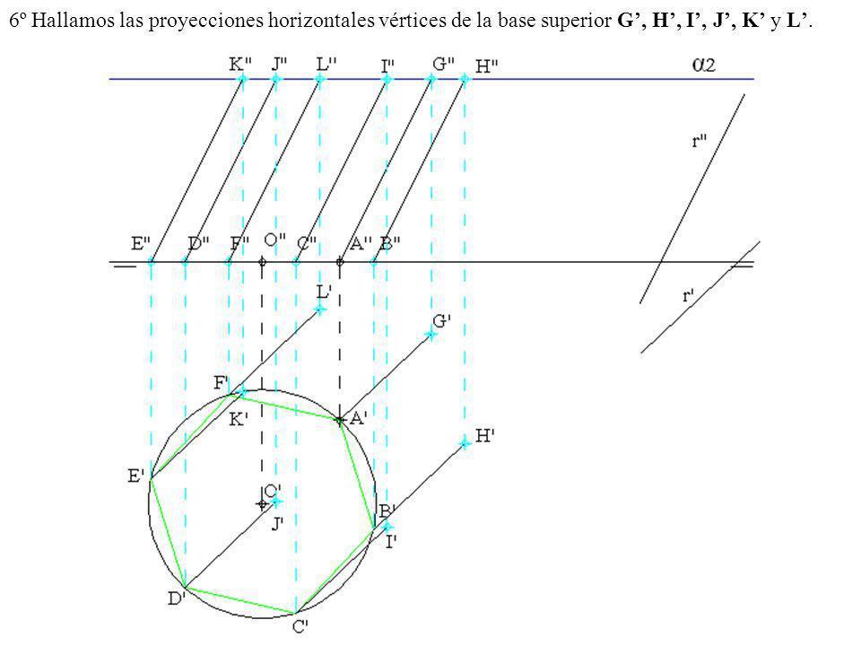 6º Hallamos las proyecciones horizontales vértices de la base superior G', H', I', J', K' y L'.