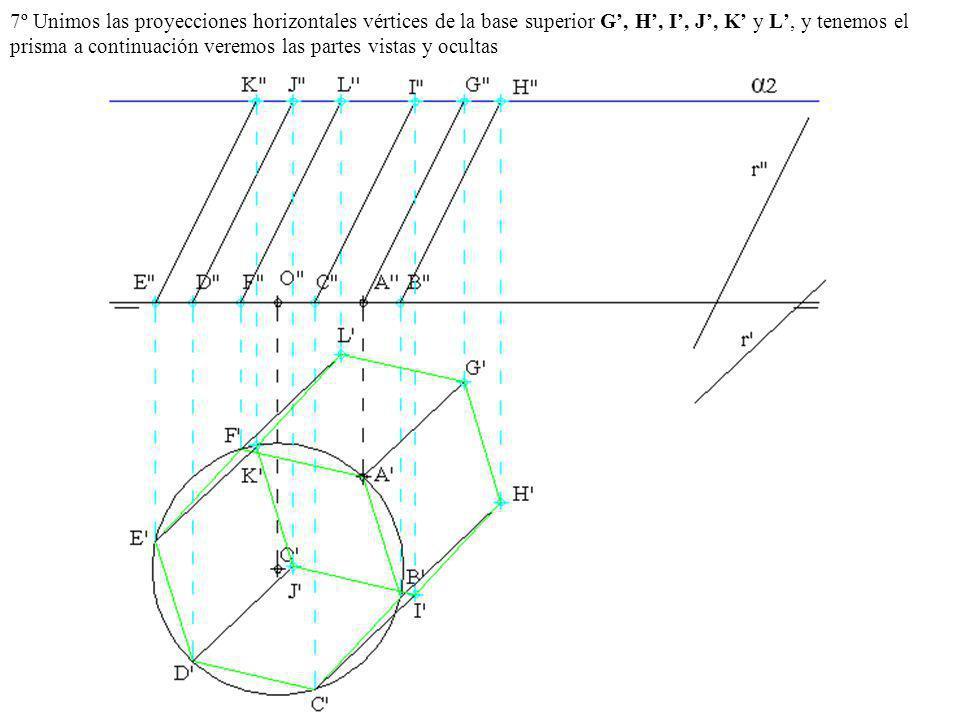 7º Unimos las proyecciones horizontales vértices de la base superior G', H', I', J', K' y L', y tenemos el prisma a continuación veremos las partes vistas y ocultas