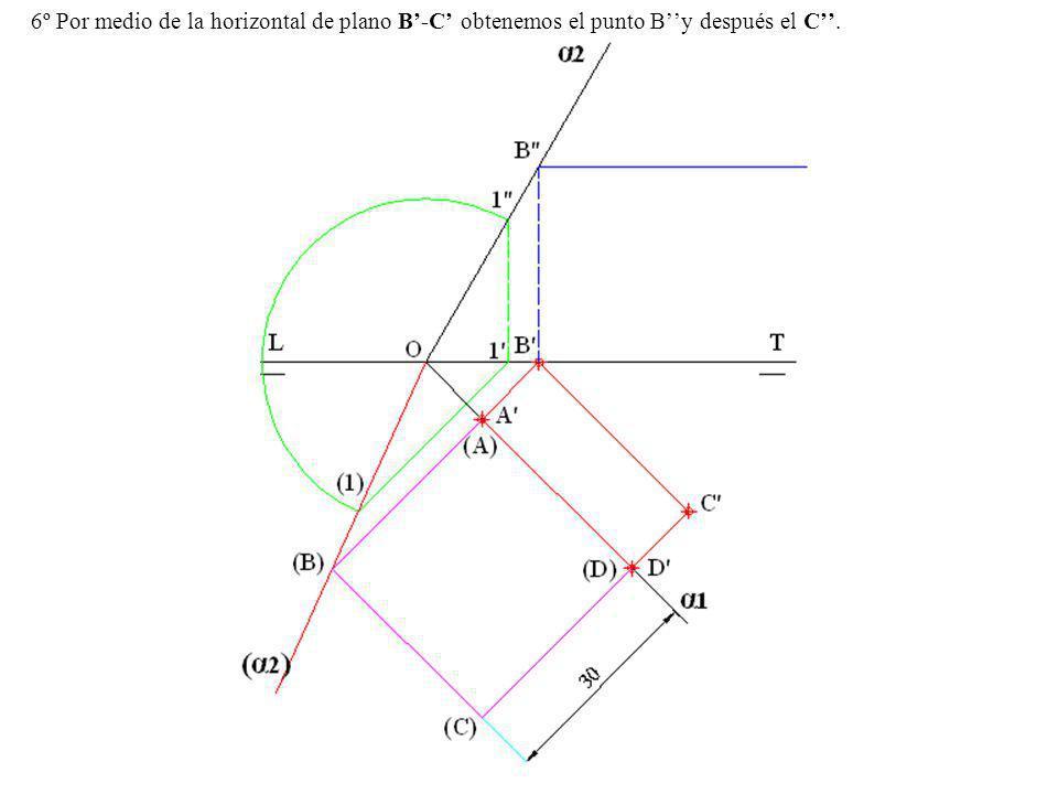 6º Por medio de la horizontal de plano B'-C' obtenemos el punto B''y después el C''.