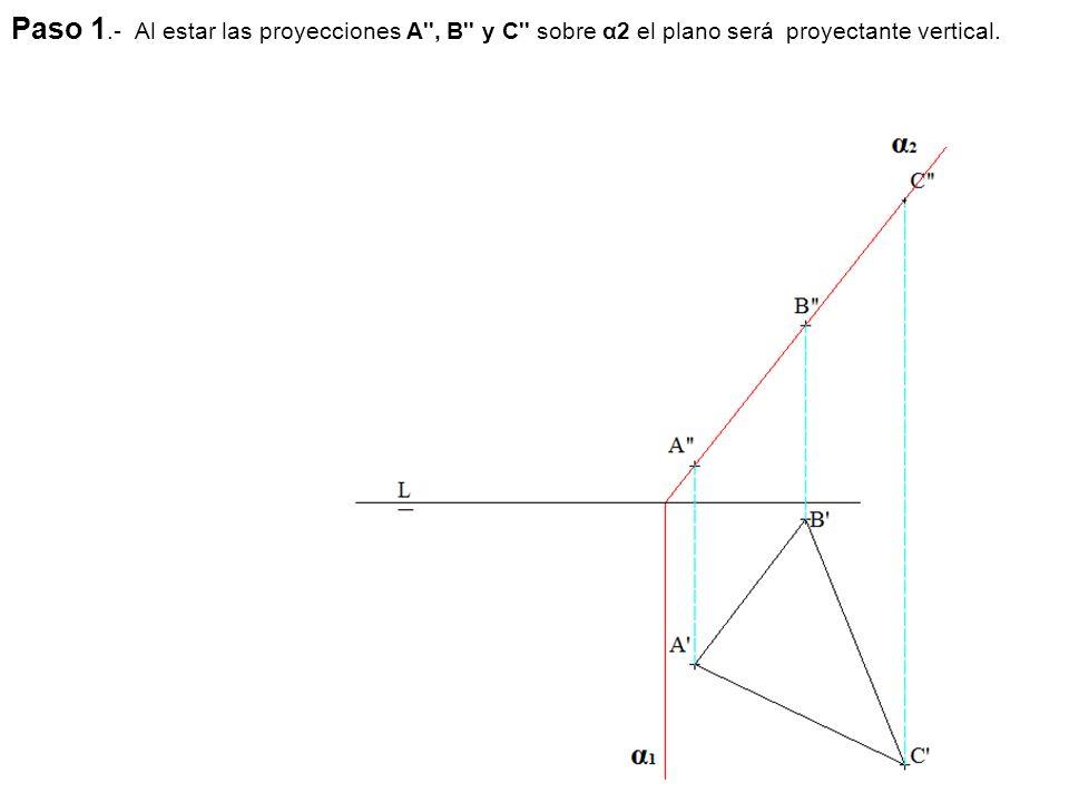 Paso 1.- Al estar las proyecciones A , B y C sobre α2 el plano será proyectante vertical.