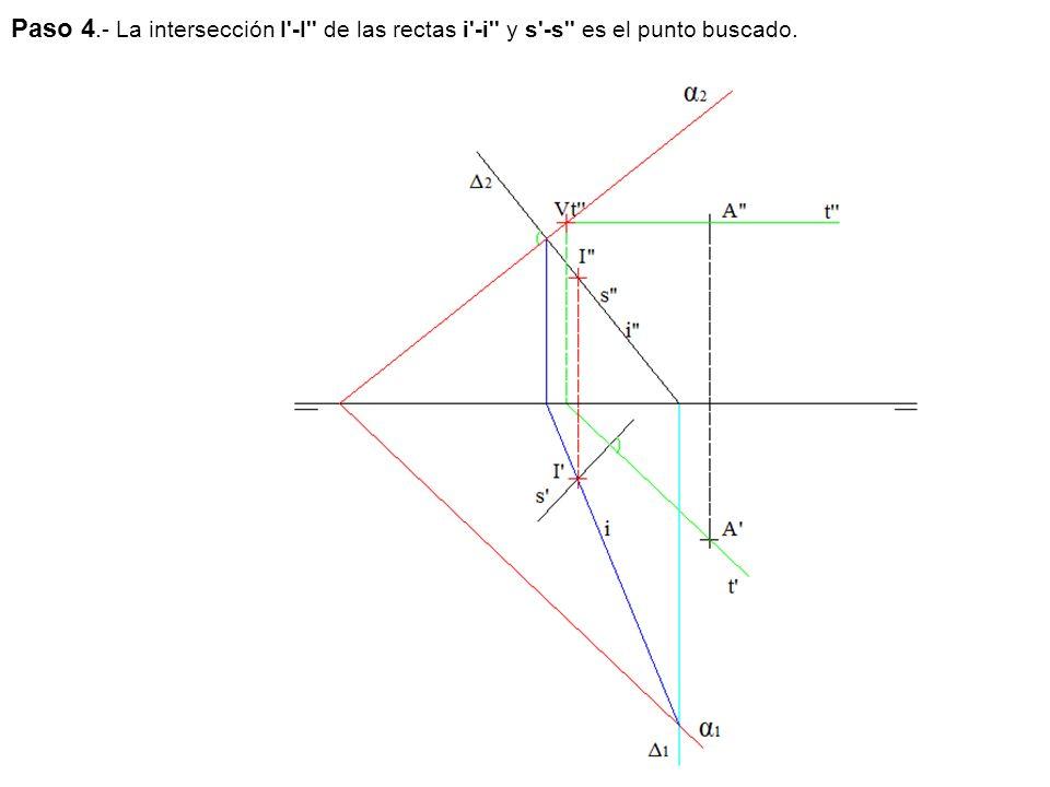 Paso 4.- La intersección I -I de las rectas i -i y s -s es el punto buscado.