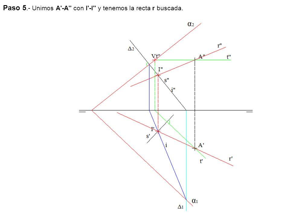 Paso 5.- Unimos A -A con I -I y tenemos la recta r buscada.
