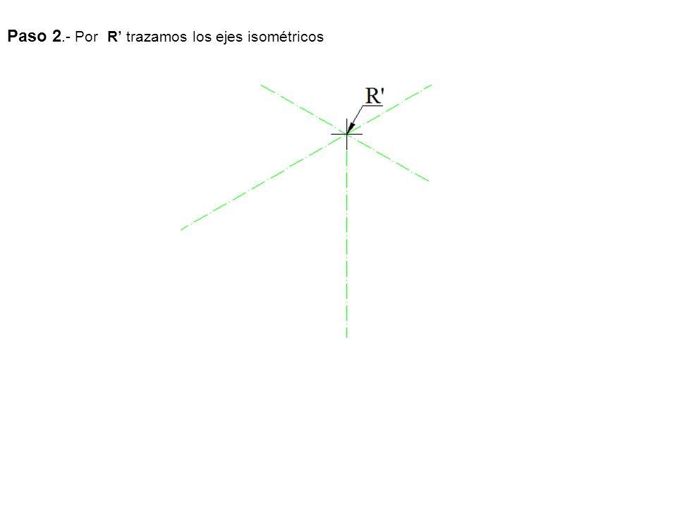 Paso 2.- Por R' trazamos los ejes isométricos