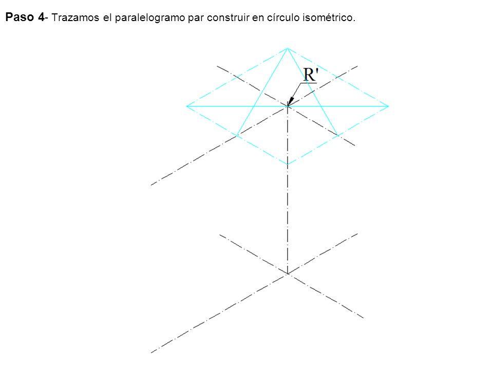 Paso 4- Trazamos el paralelogramo par construir en círculo isométrico.
