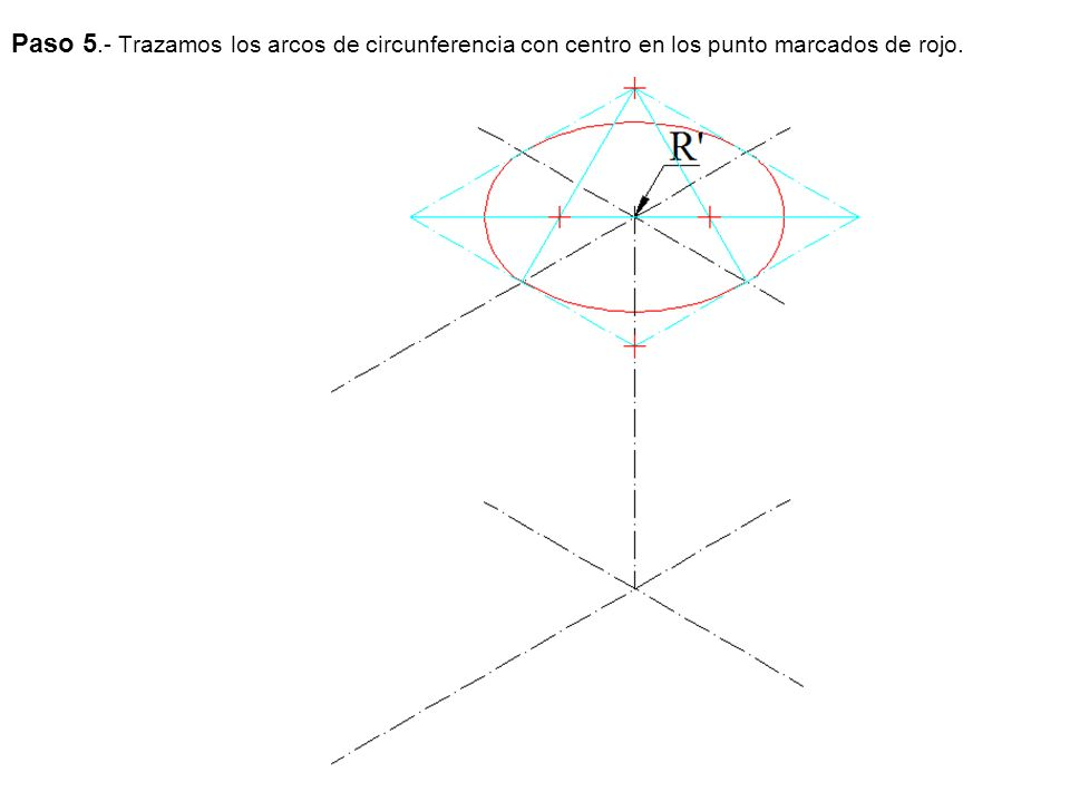 Paso 5.- Trazamos los arcos de circunferencia con centro en los punto marcados de rojo.