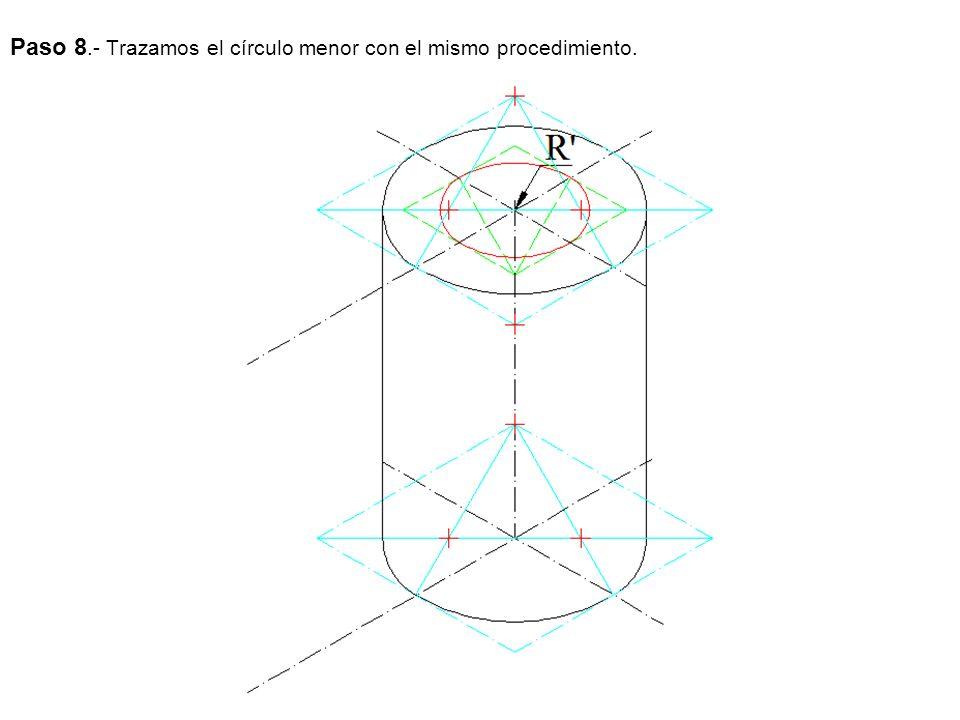 Paso 8.- Trazamos el círculo menor con el mismo procedimiento.