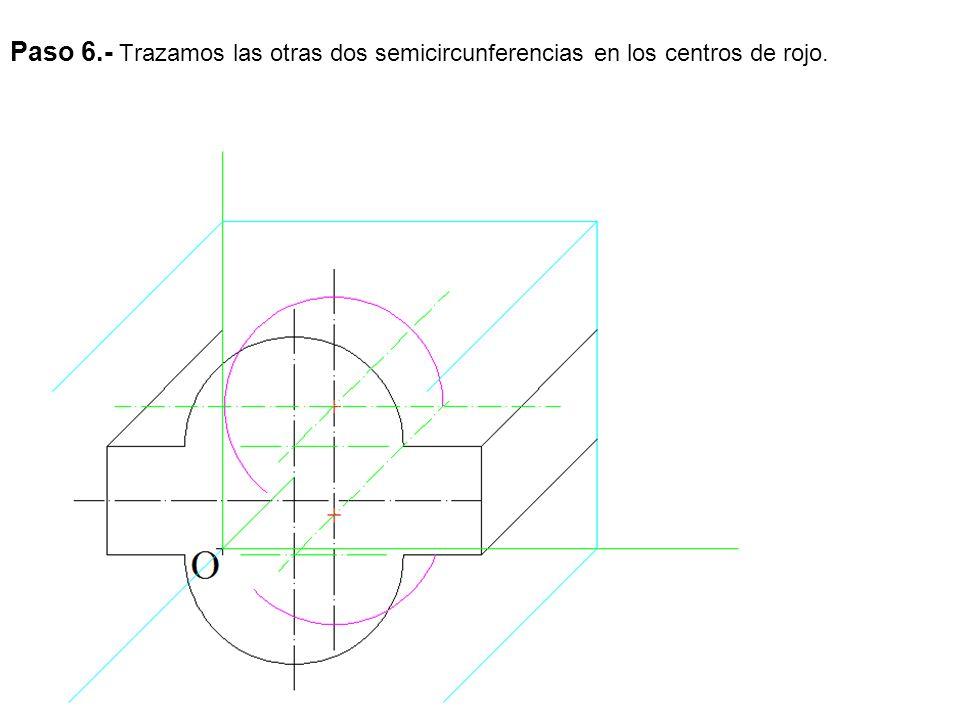 Paso 6.- Trazamos las otras dos semicircunferencias en los centros de rojo.