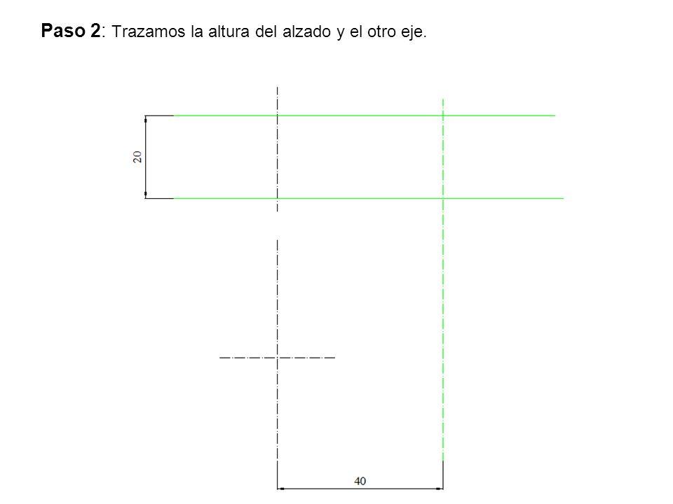 Paso 2: Trazamos la altura del alzado y el otro eje.