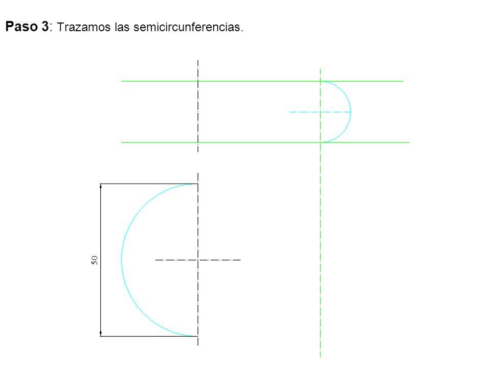 Paso 3: Trazamos las semicircunferencias.