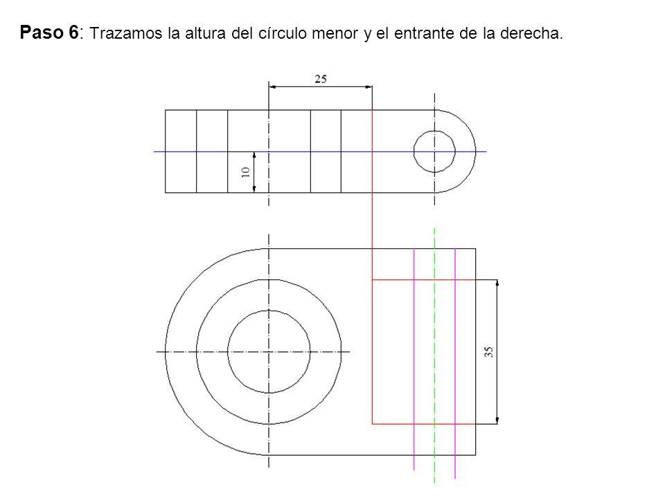 Paso 6: Trazamos la altura del círculo menor y el entrante de la derecha.
