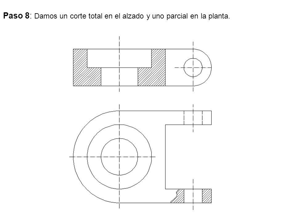 Paso 8: Damos un corte total en el alzado y uno parcial en la planta.