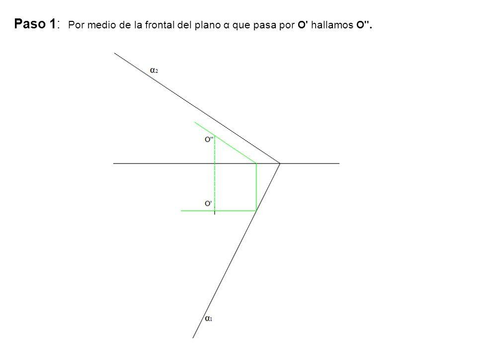 Paso 1: Por medio de la frontal del plano α que pasa por O hallamos O .