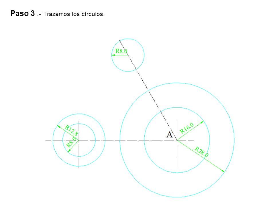 Paso 3 .- Trazamos los círculos.