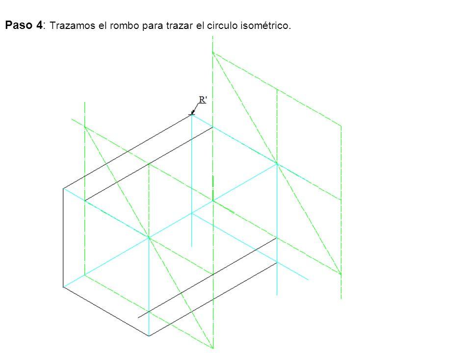 Paso 4: Trazamos el rombo para trazar el circulo isométrico.