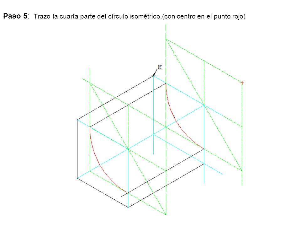 Paso 5: Trazo la cuarta parte del círculo isométrico