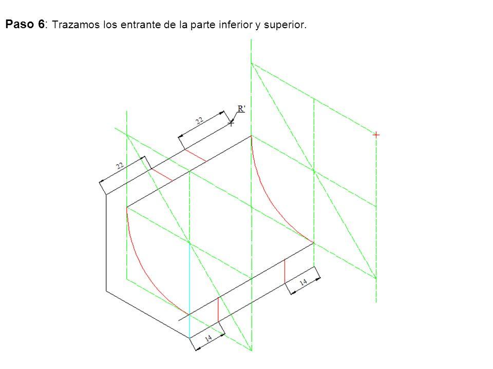Paso 6: Trazamos los entrante de la parte inferior y superior.