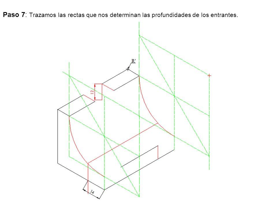 Paso 7: Trazamos las rectas que nos determinan las profundidades de los entrantes.