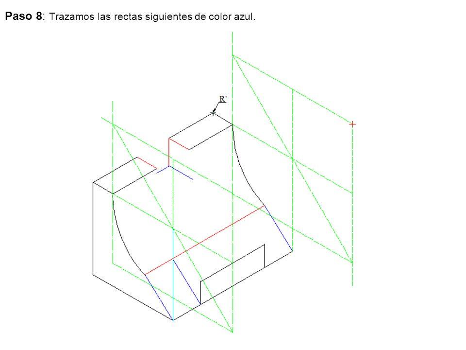 Paso 8: Trazamos las rectas siguientes de color azul.