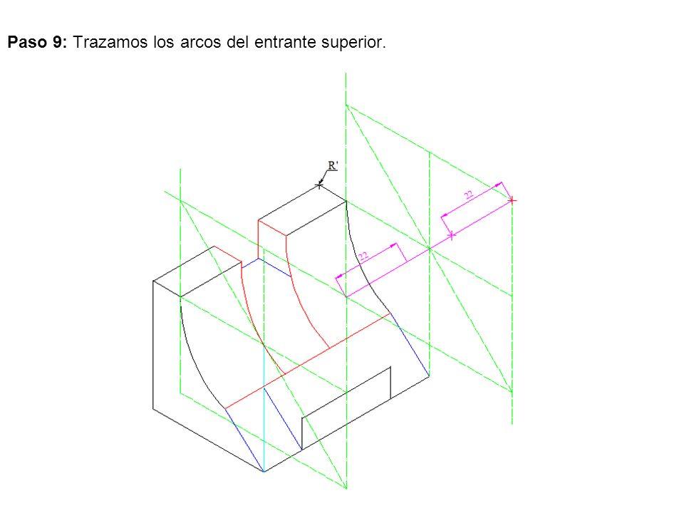 Paso 9: Trazamos los arcos del entrante superior.