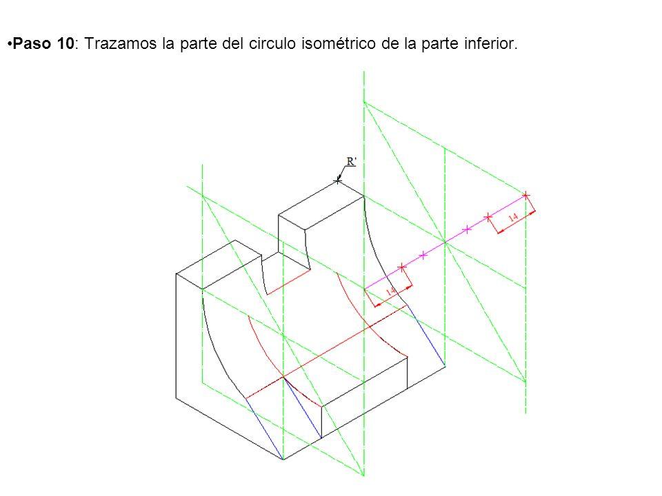Paso 10: Trazamos la parte del circulo isométrico de la parte inferior.